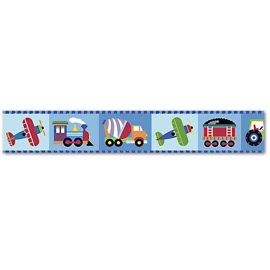 Discontinued Olive Kids Trains Planes and Trucks Wallpaper Border 536x536