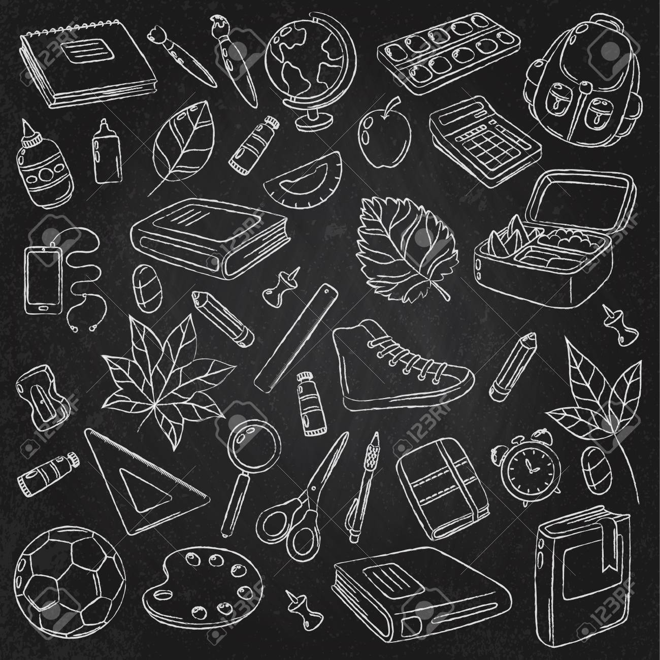 Vector Doodle Icons Collection School Supplies Back To School 1300x1300