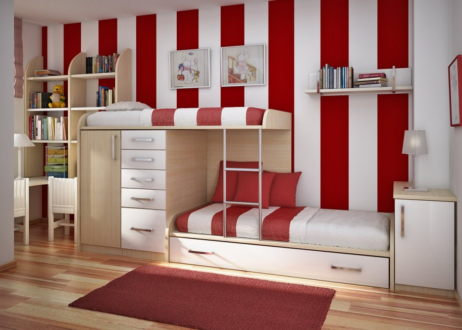 Girl Bedroom Amazing Teenage Rooms Stripped Red Wallpaper Red Rug 915x654
