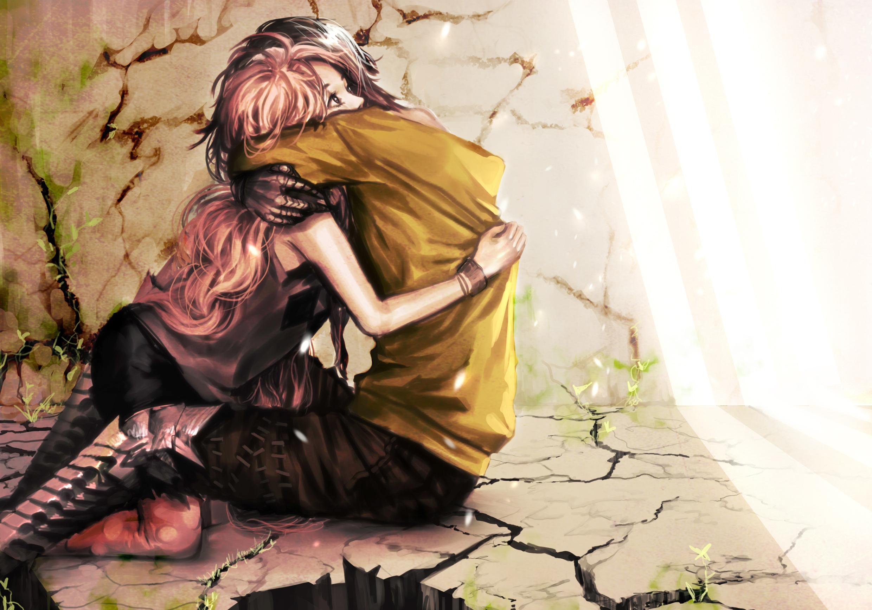 Couple Romantic Hug In Beautiful Sunshine Anime Artwork 2480x1735