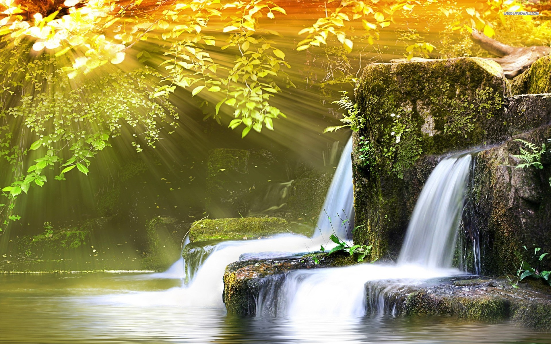 Gambar Lukisan Air Terjun Indah Wallpaper Cantik DP Wallpaper 1920x1200