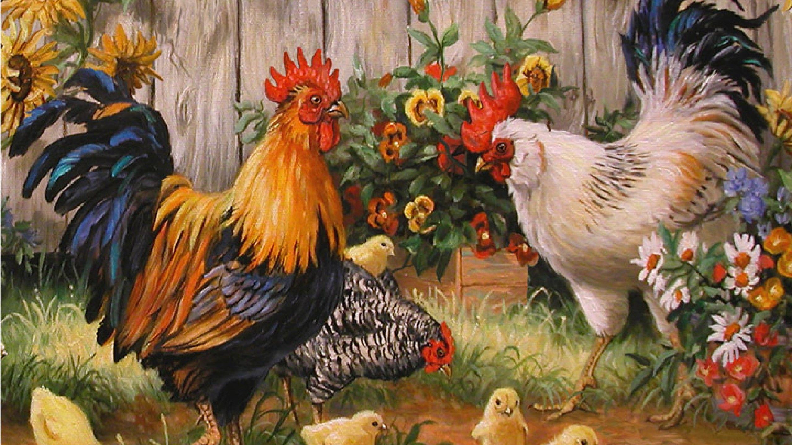 Rooster Wallpaper Painting Chicken Rooster art Chicken 2560x1440