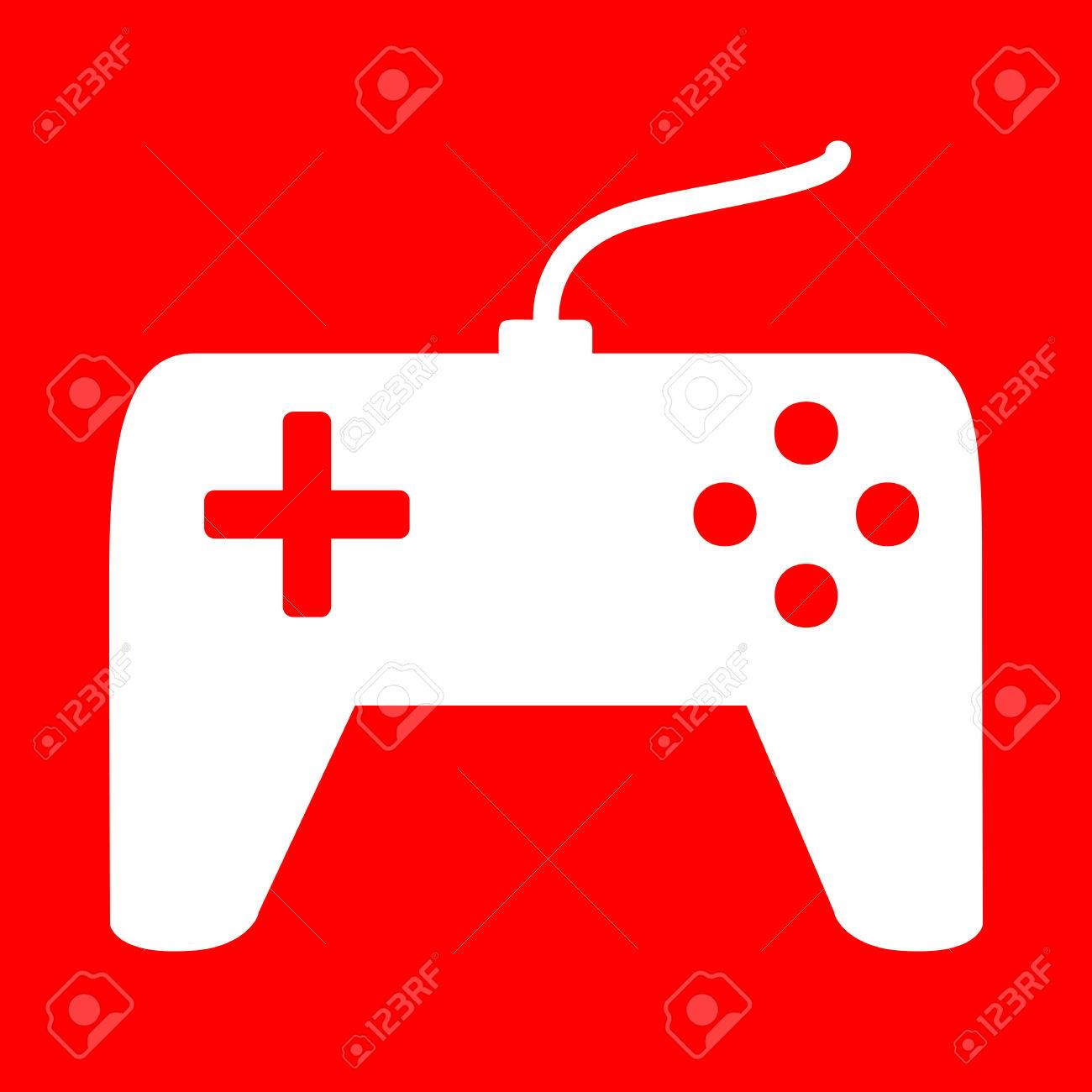 Joystick Simple Sign White Icon On Red Background Royalty 1300x1300