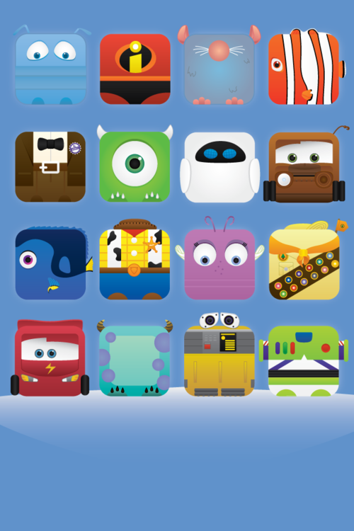 MOVIELICIOUS   Pixar Theme iPhone Icon Wallpaper by Jess Fong 500x750