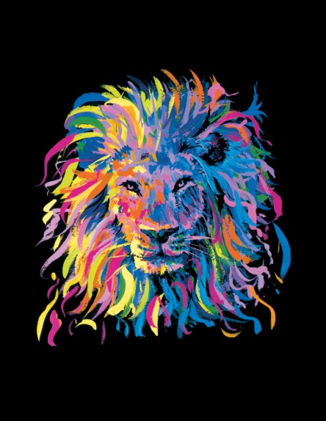 Colorful Lion Art Mgm grand colorful lion 475x614