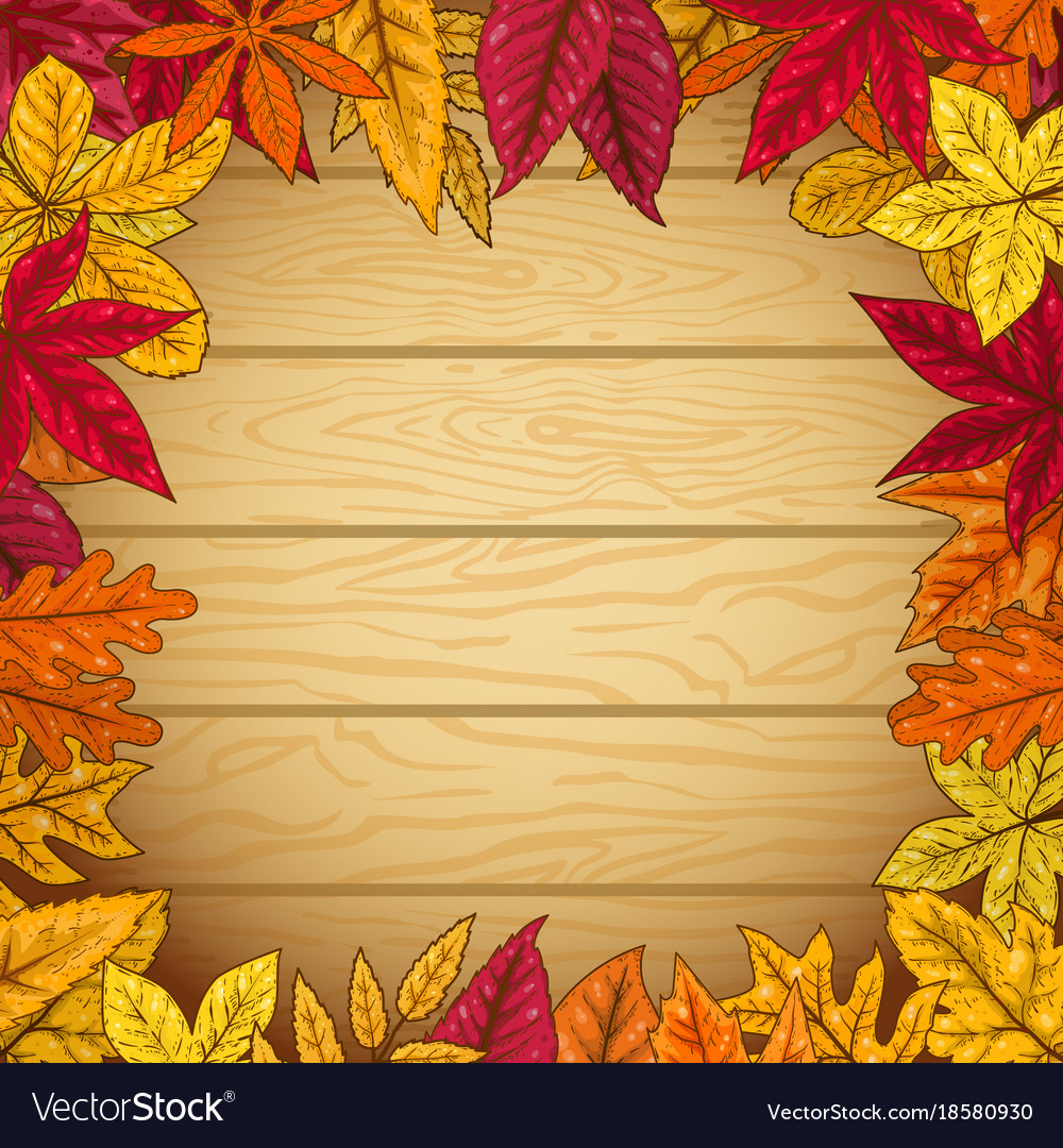 Border from autumn leaves on wooden background Vector Image 1000x1080