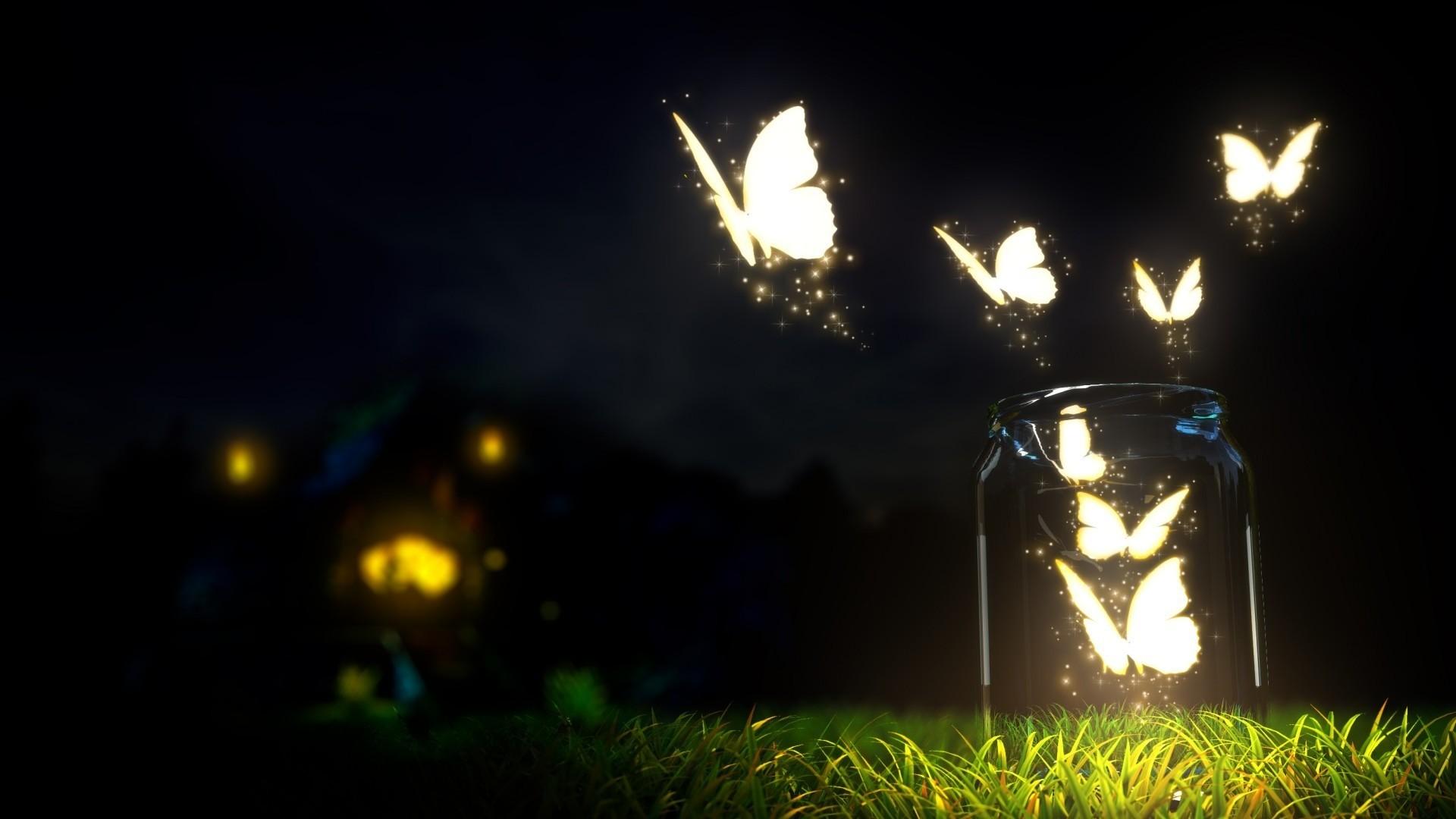 fantasy art lights grass butterfly glass night wallpaper 1920x1080