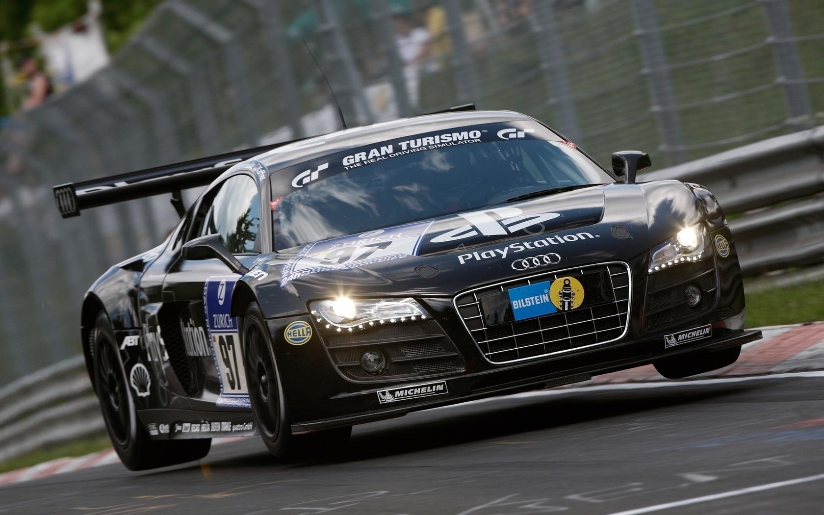 Wallpaper Audi R8 LMS Audi Sponsoren track Rennwagen groe 1680x1050