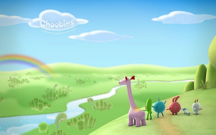 World   Rainbow Gazing Cute Pastel Cartoon Character Wallpaper 3 700x438