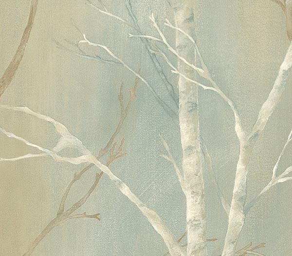 Seafoam Birch Trees Wallpaper 600x525