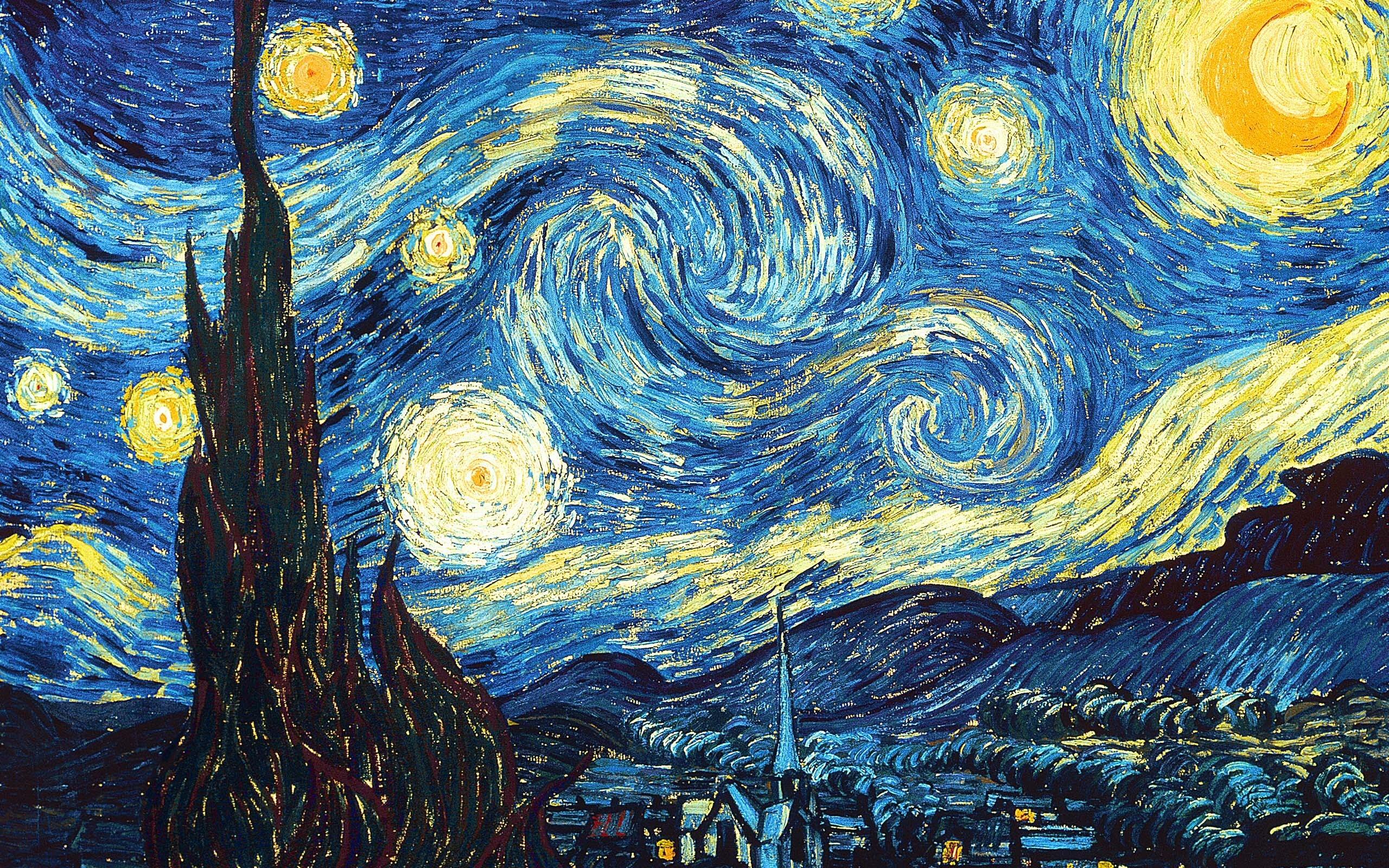 Night Wallpaper HD Widescreen The Starry Night Wallpaper Van Gogh 2560x1600