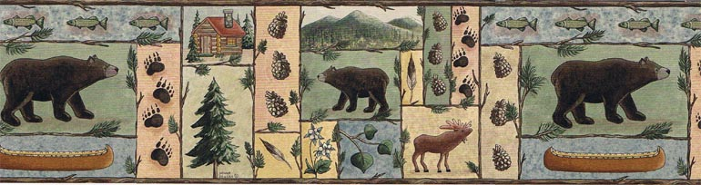 Jensen Lodge Bears Moose Wallpaper Border BA7016B eBay 770x204