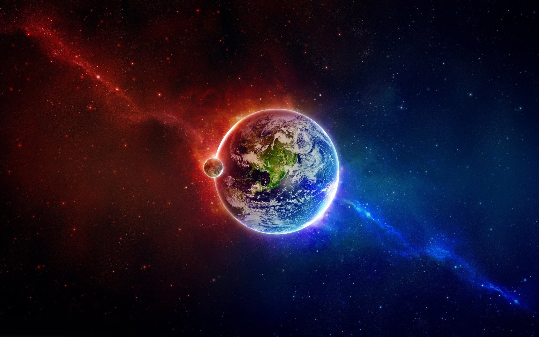 Download Earth in blue and red space wallpaper 1728x1080