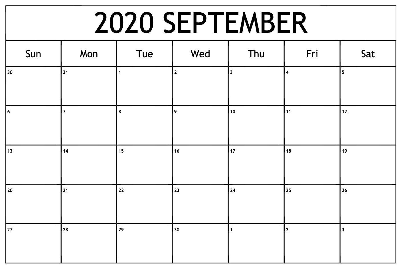September 2020 Calendar PDF Printable yearly calendar September 1406x929
