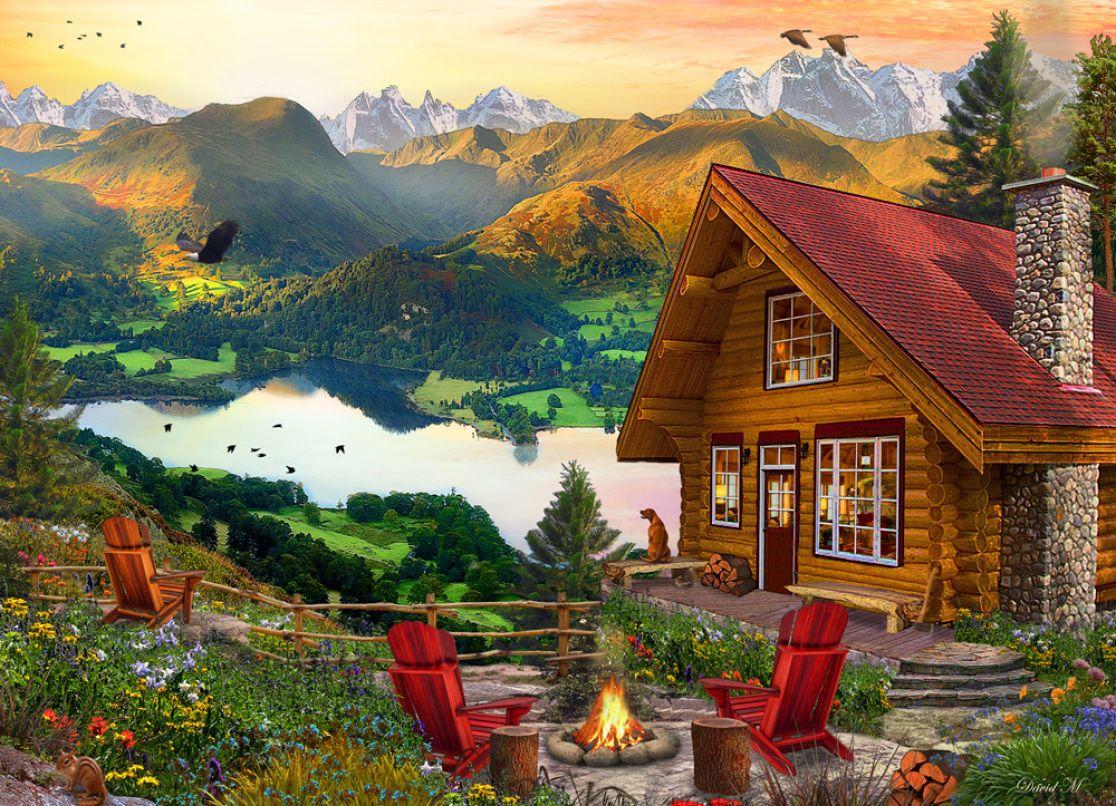 Mountain Retreat Jigsaw Puzzle New Jigsaw Puzzles Cottage art 1116x806