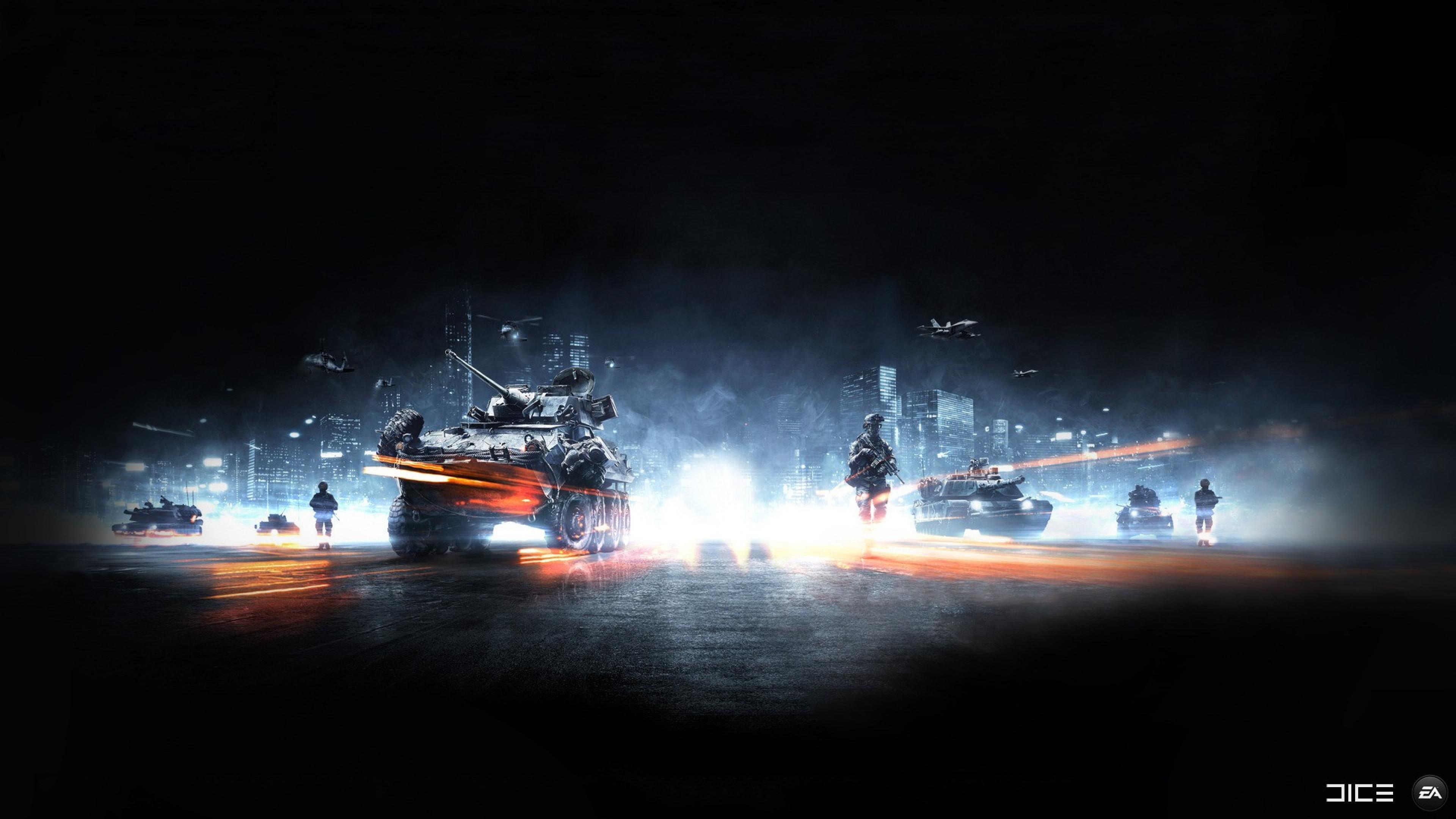 Wallpaper 3840x2160 battlefield tank soldiers city smoke 4K 3840x2160