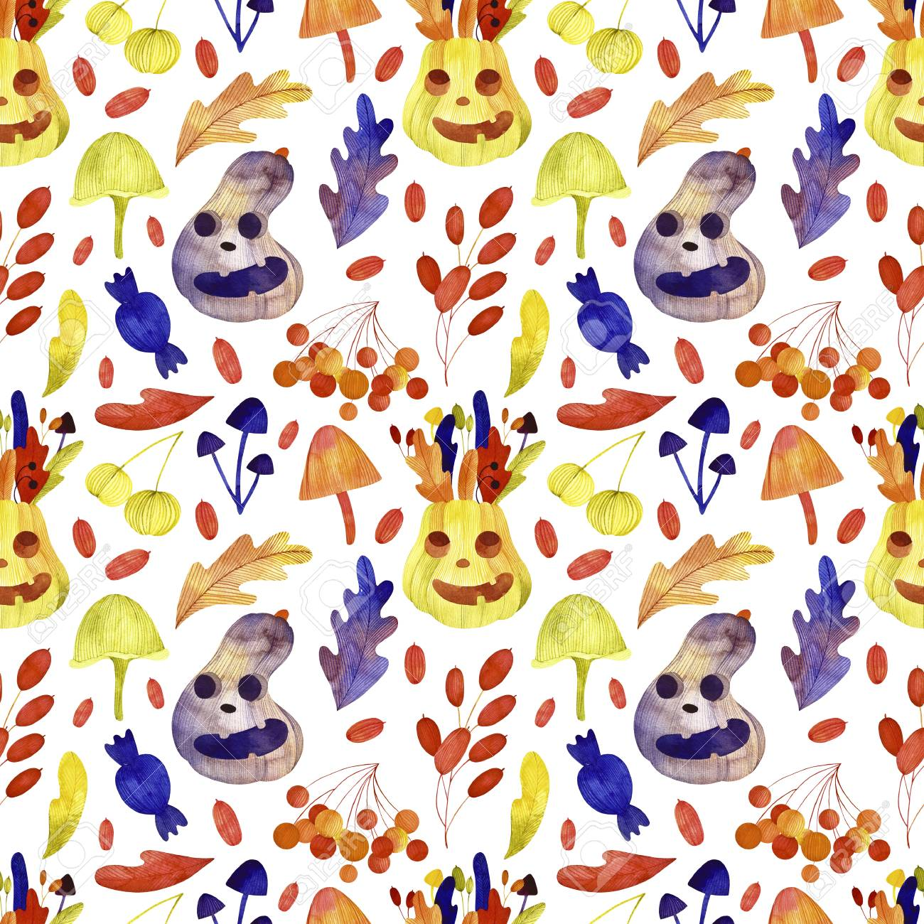 Watercolor Halloween Seamless Pattern Cute Halloween Set Perfect 1300x1300