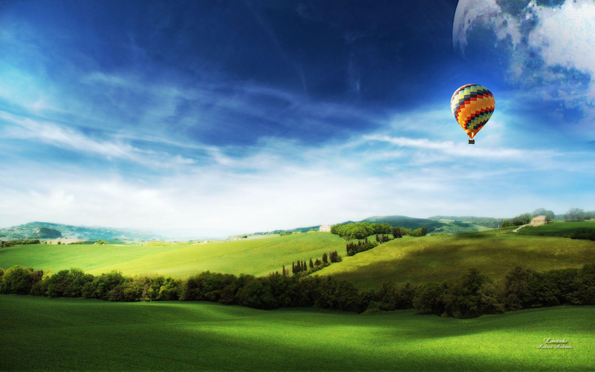 природа деревья архитектура мост воздушные шары аэростаты nature trees architecture the bridge air balls balloons  № 2627681 бесплатно