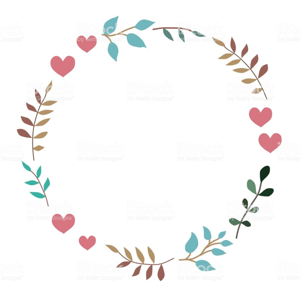 Doodle Heart And Leaf Circle Frame On A Black Background Wreath Of 1024x1024