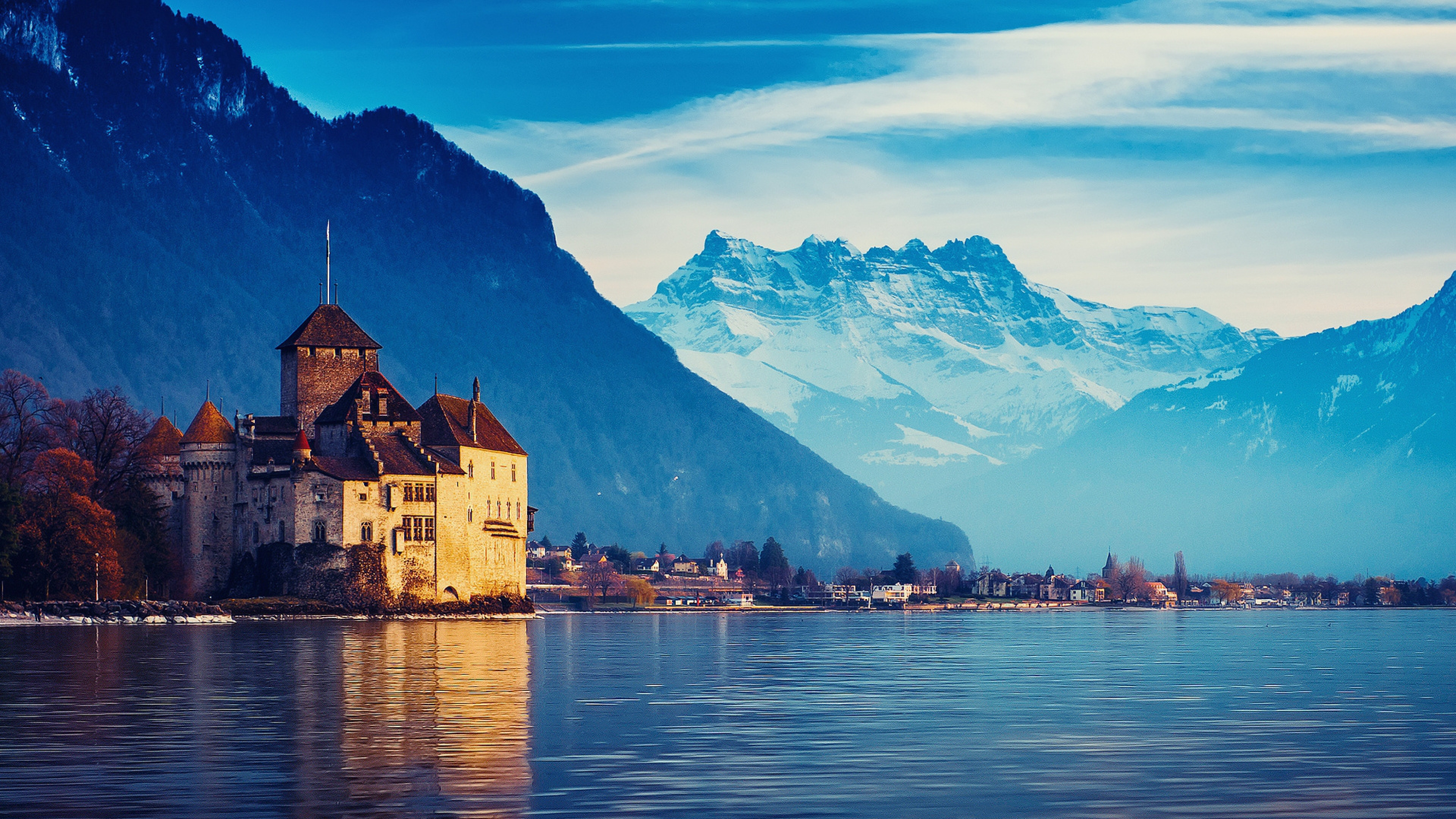 Lake geneva city Mountains Snow Wallpaper Background 4K Ultra HD 3840x2160