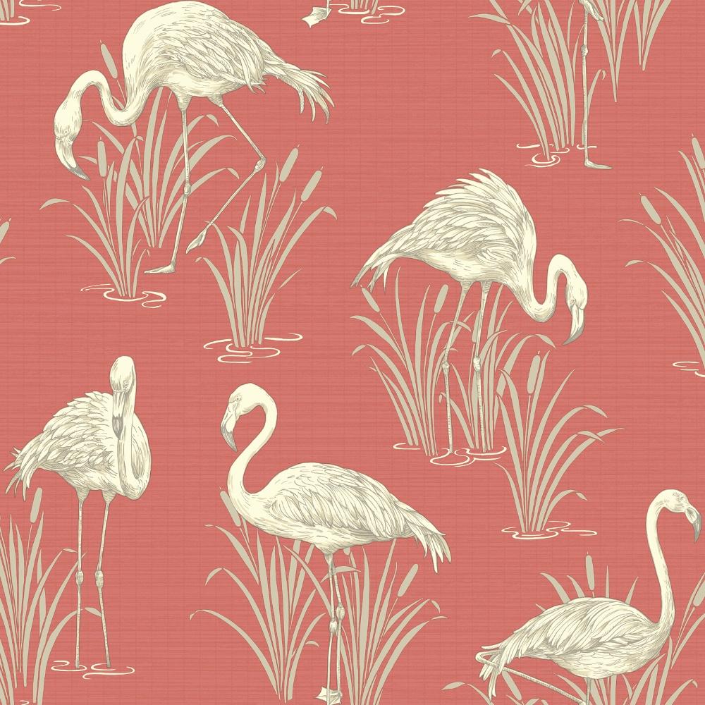 Vintage Lagoon Traditional Oriental Flamingo Textured Wallpaper 252601 1000x1000