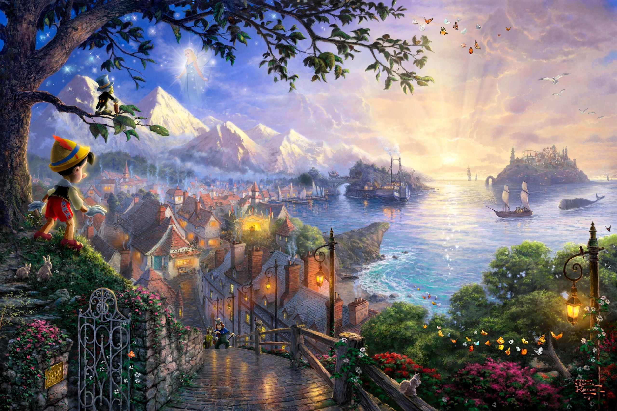 personnages de Walt Disney Thomas Kinkade's Disney Paintings ...