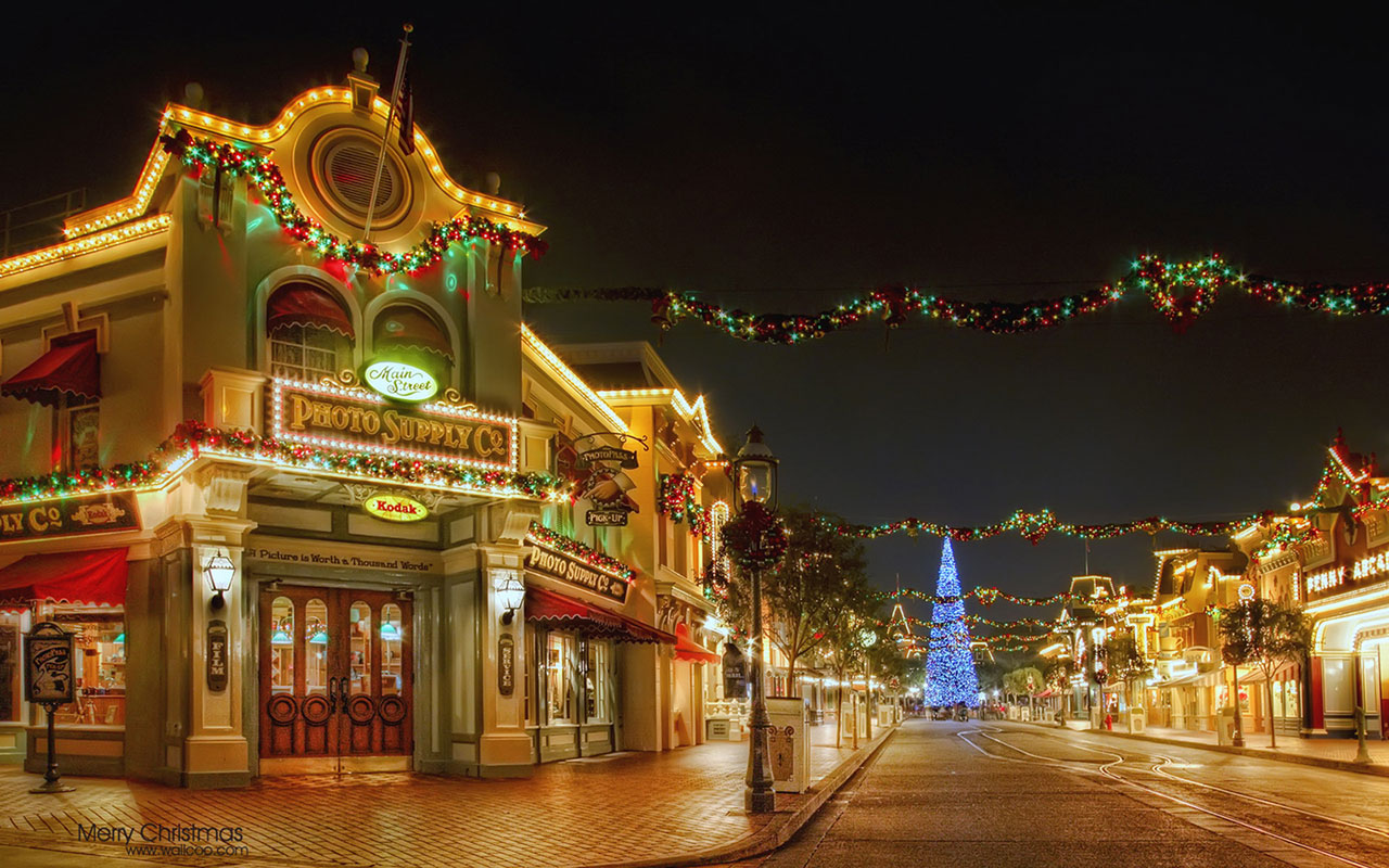 Holiday WallpapersDisney Disneyland Christmas Decorative Night Deskt 1280x800
