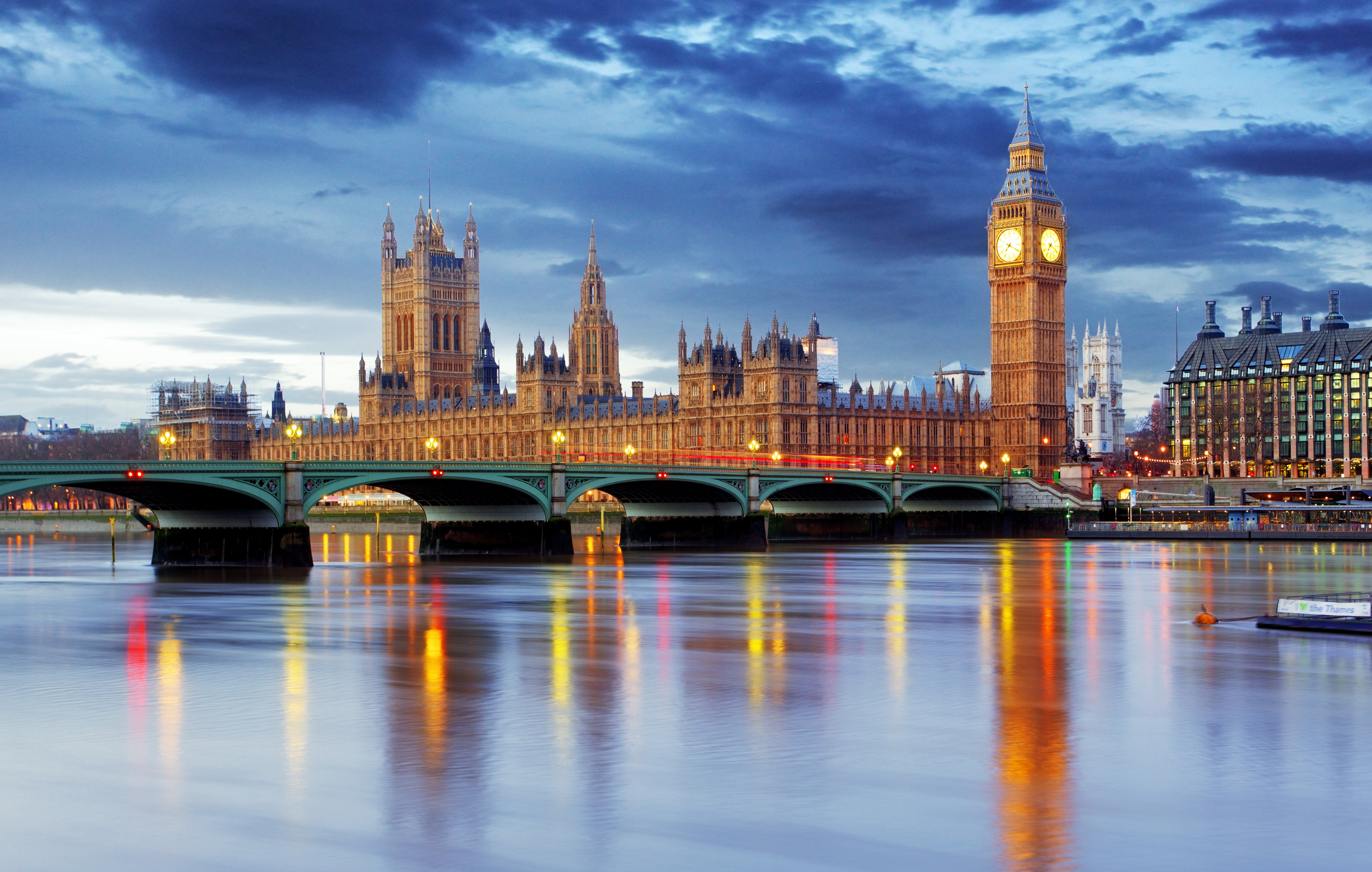 Rivers Bridges Houses Sky London Big Ben Cities wallpaper background 5600x3560