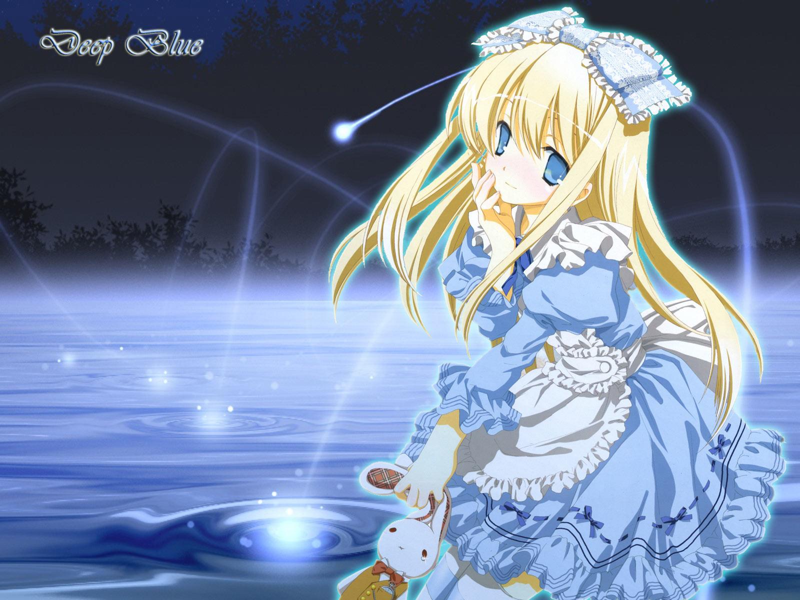 wallpaper blue girl animejpg 1600x1200