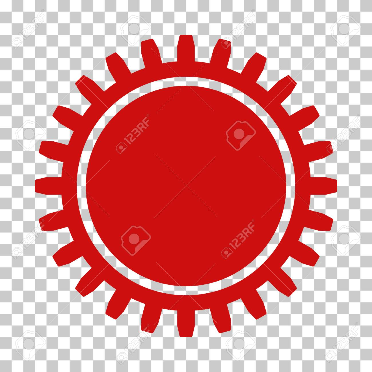Red Cogwheel Toolbar Icon Vector Pictograph Style Is A Flat 1300x1300
