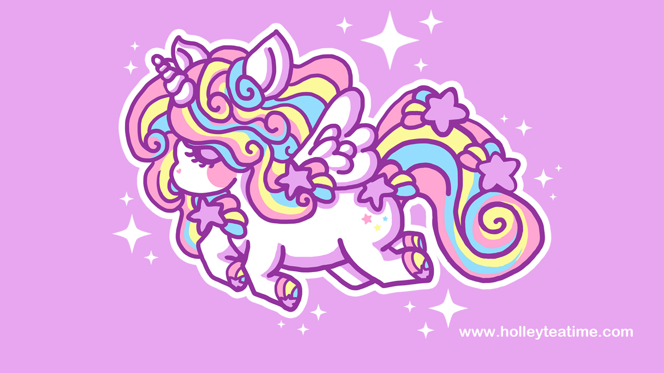 Cute Unicorns And Rainbows Kawaii Rainbow Unicorn By 1366x768