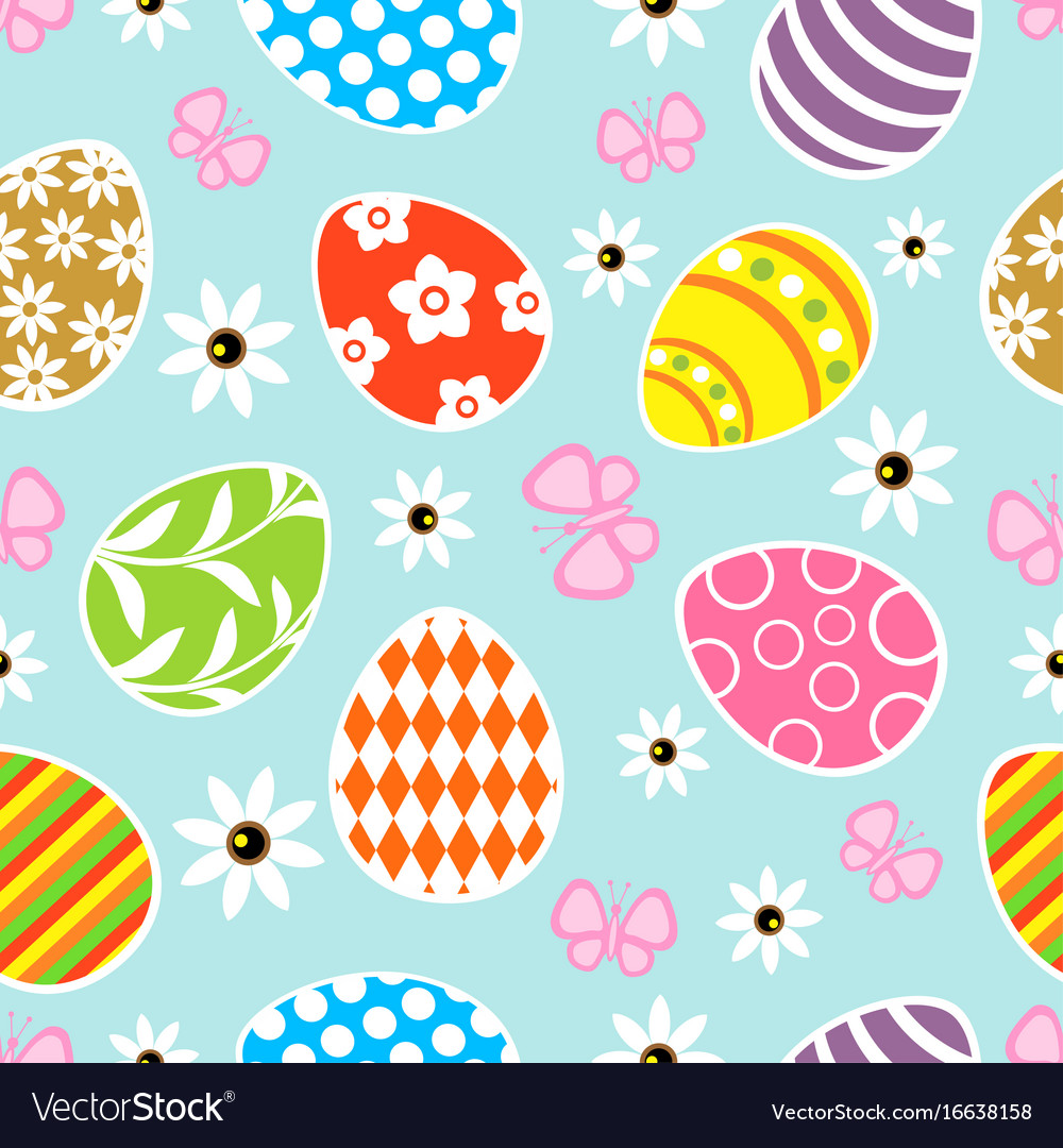 Seamless easter background card blue Royalty Vector 1000x1080