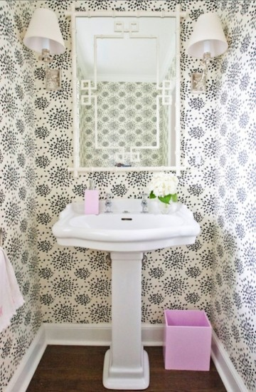 powder room wallpaper strikes a bit of fun against the traditional 360x550