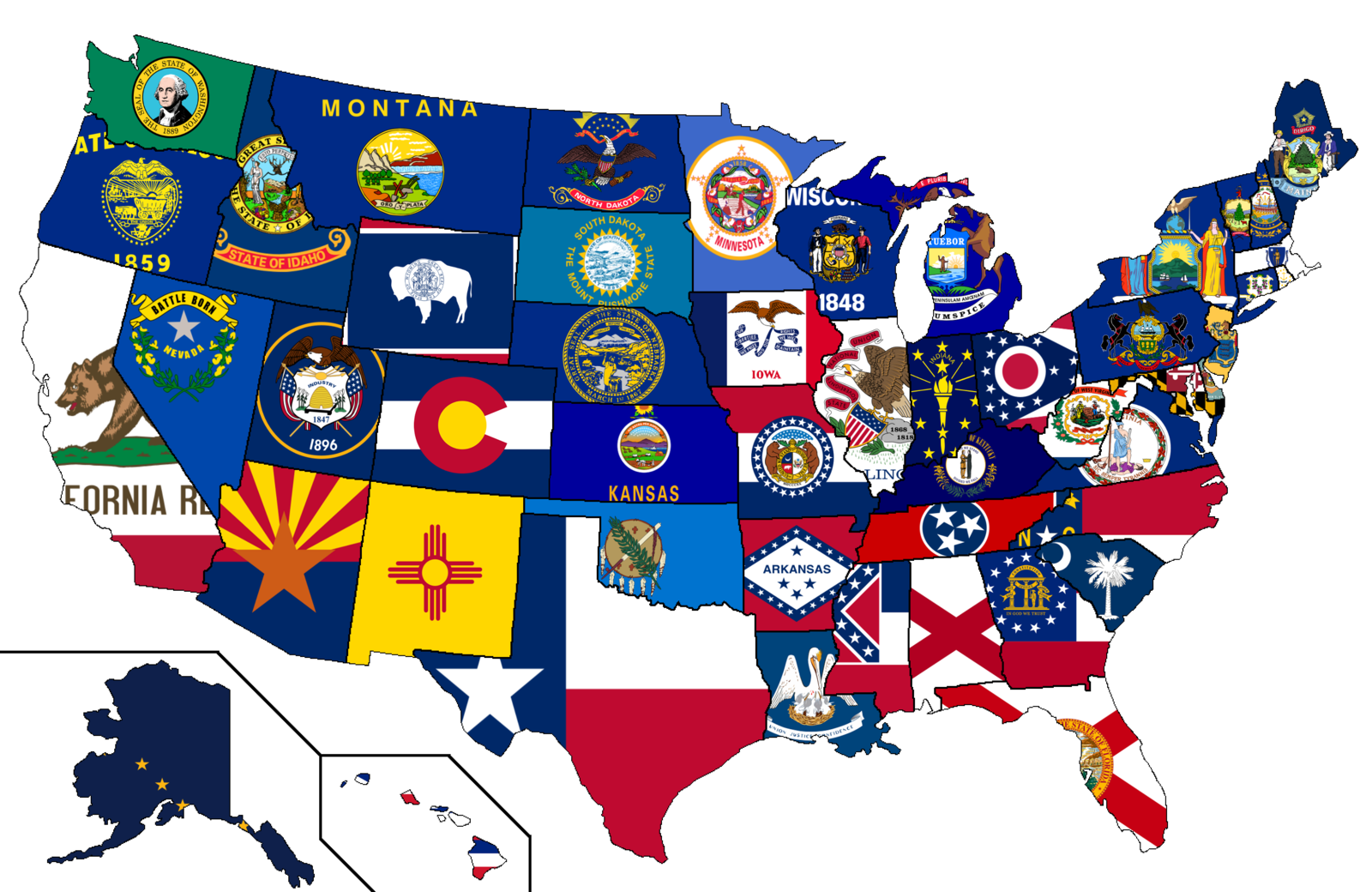 Colours of the US states flags blended into one colour [1513x983 1600x1040