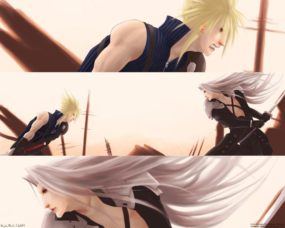 Sephiroth vs Cloud by Angelus Tenebrae 1000x800