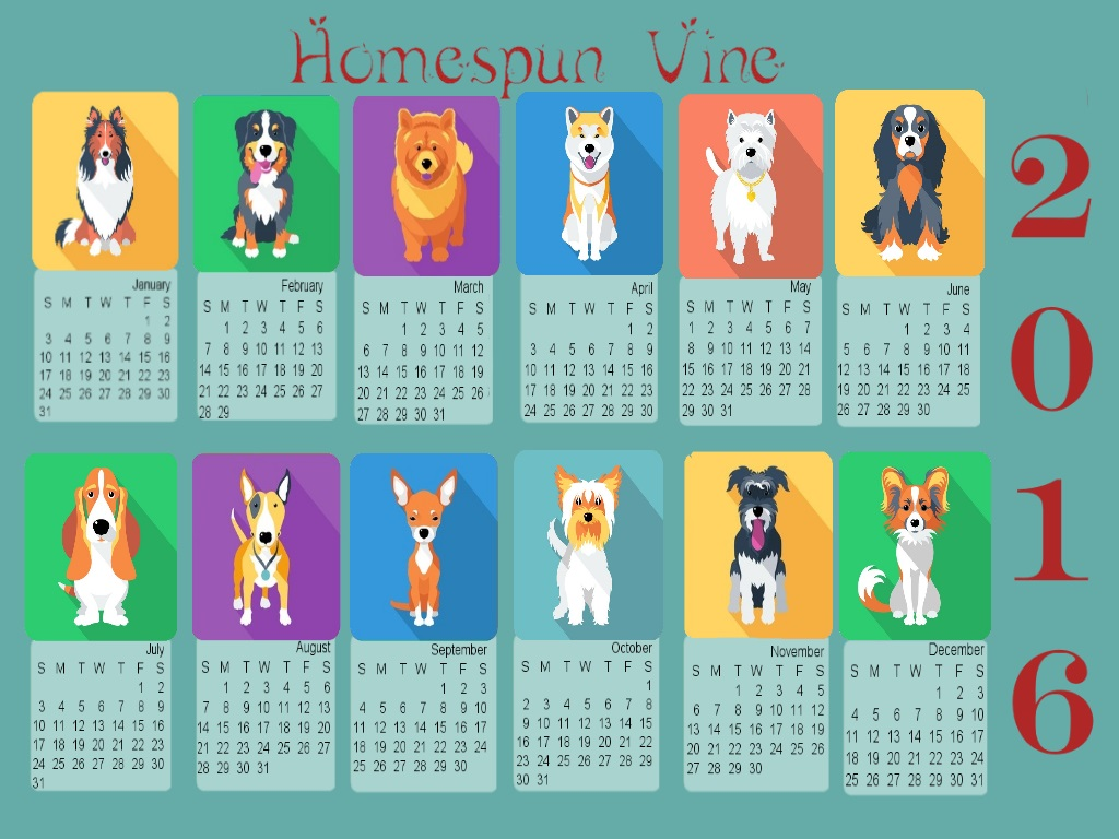 2016 Doggies Desktop Wallpaper With Calendar Homespun Vine 1024x768