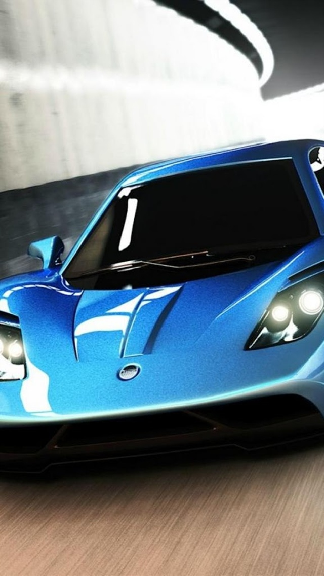 Blue Cool Sports Car Iphone 5 Wallpapers 640x1136