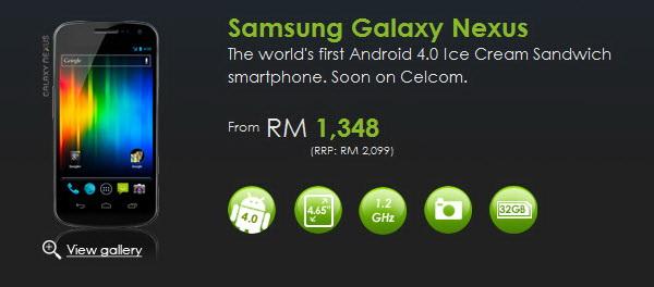 Celcom Malaysia offers 2 plans for Galaxy Nexus Celcom Exec for 600x264