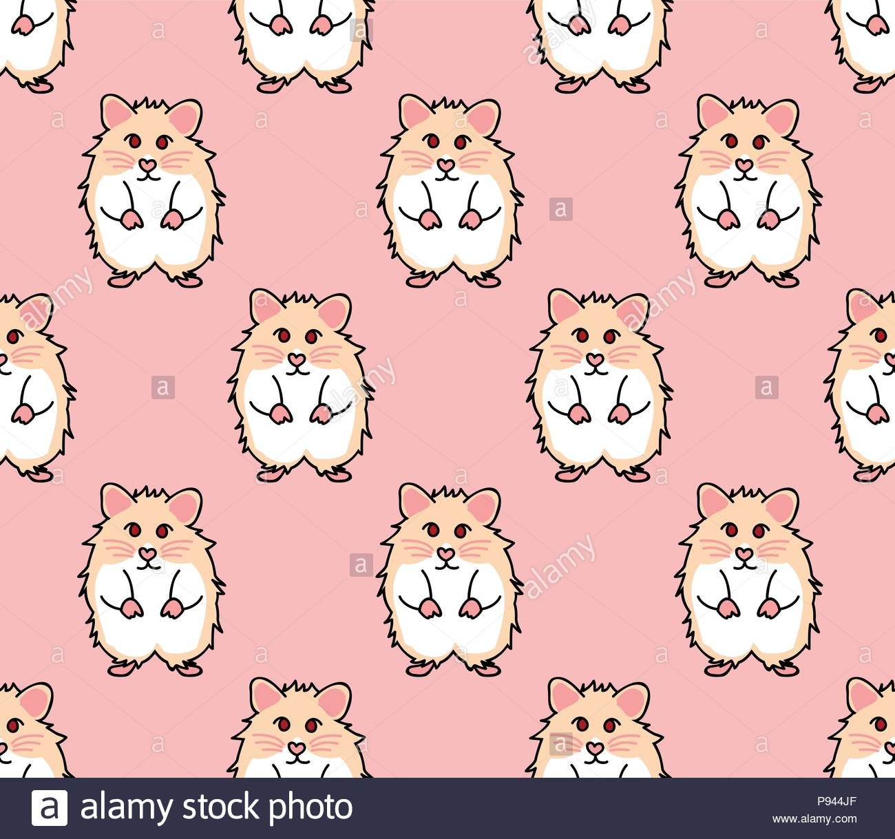 Cute Red Eyes Hamster on Pink Background Vector Illustration 1300x1219