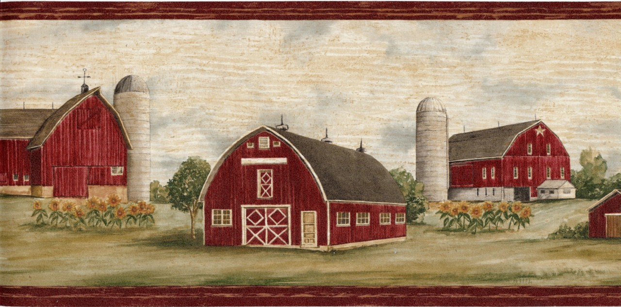 Details about Wallpaper Border Country Farm Red Barn Sunflowers 1280x634