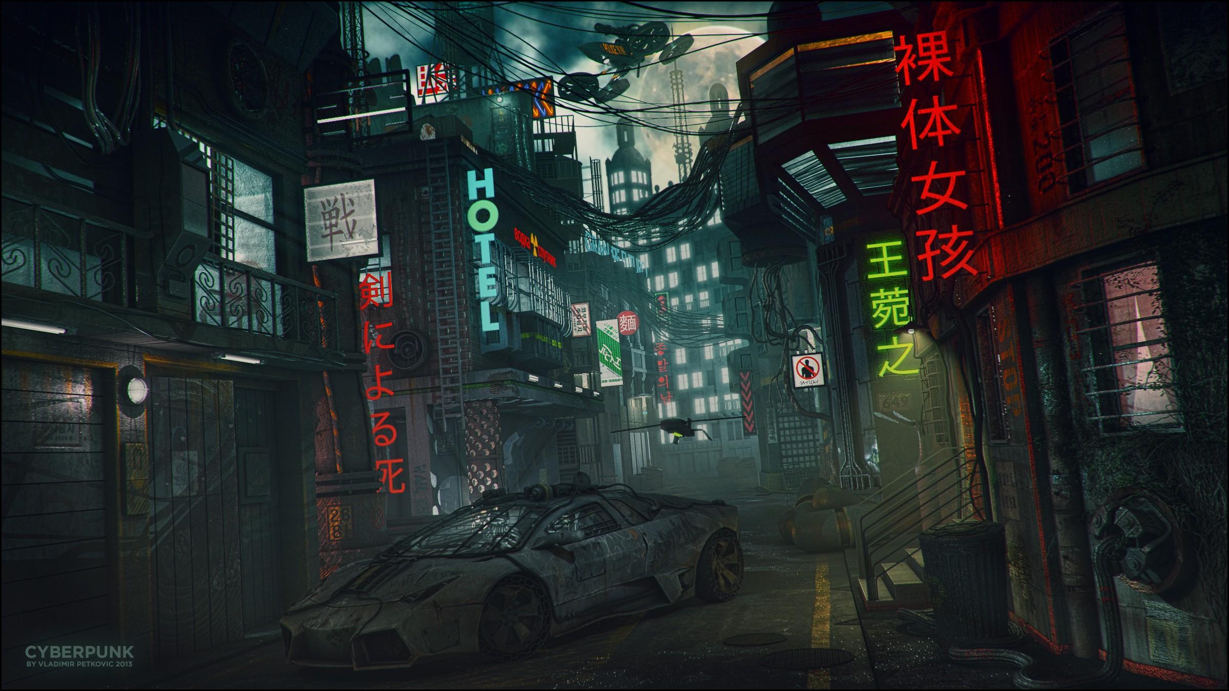 cyberpunk Lamborghini Neon Wallpapers HD Desktop and 2400x1350