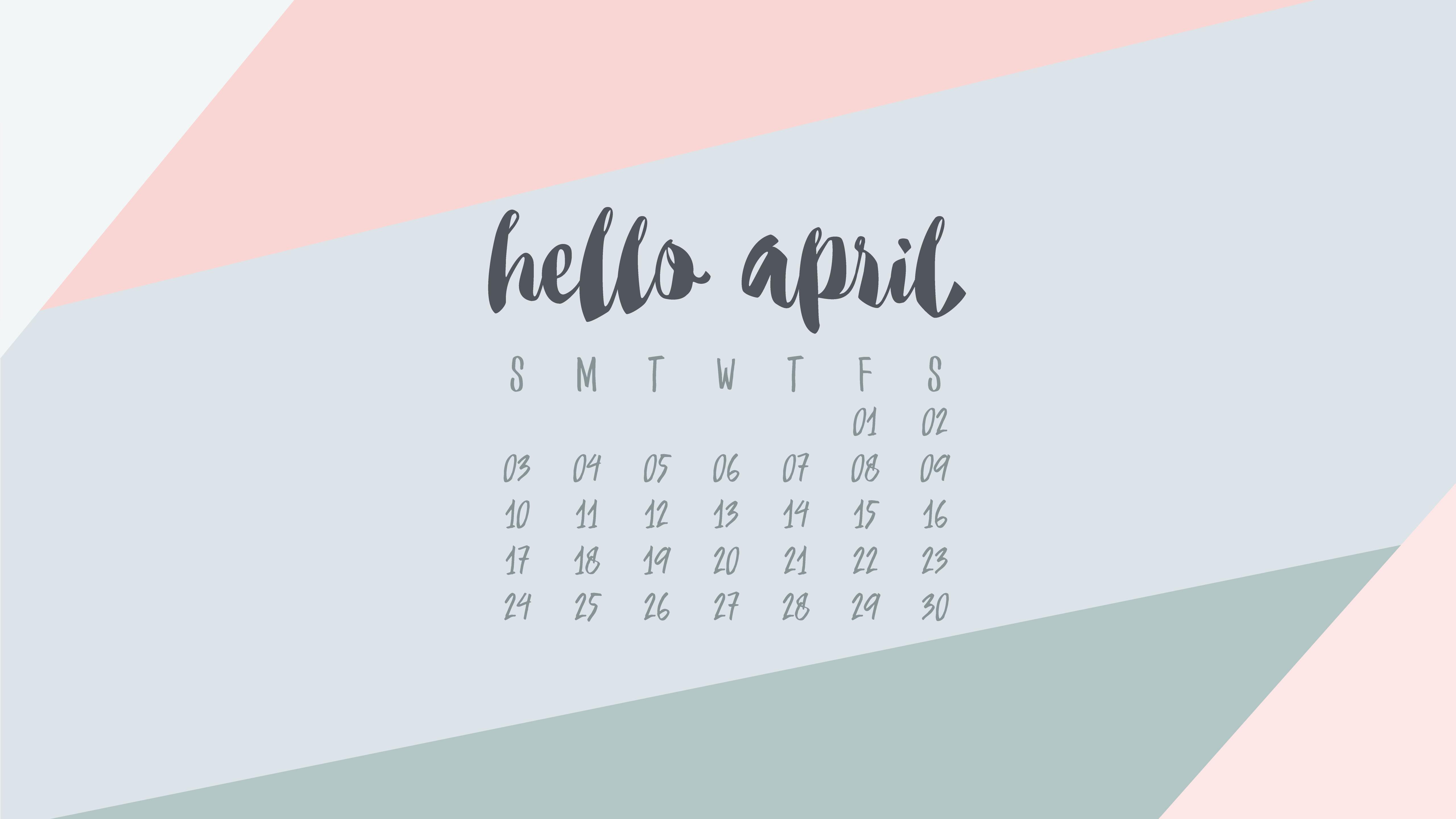 April 2016 Desktop Calendar Wallpaper UpperCase Designs 5120x2880