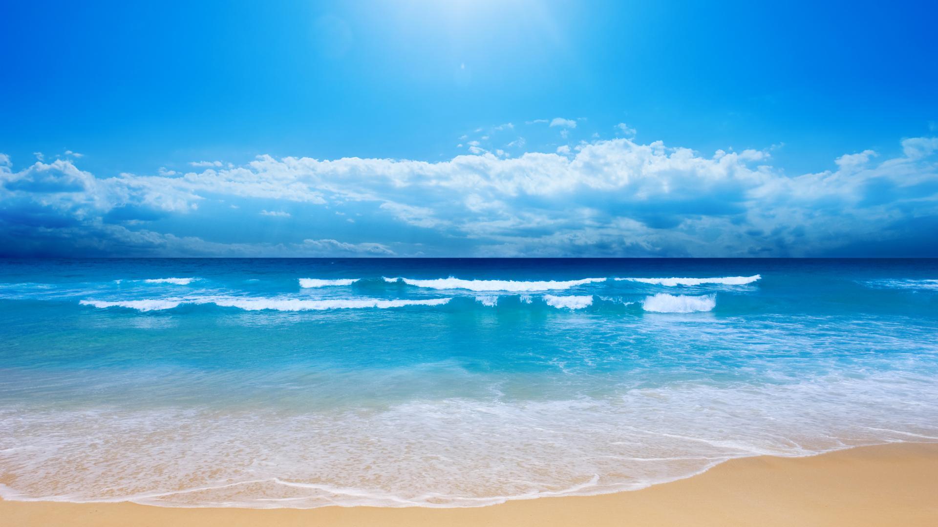 ocean sun sunshine water clouds wow 1920x1080
