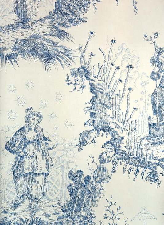 Blue Toile de Jouy Wallpaper Chinese Toile Wallpaper 534x729