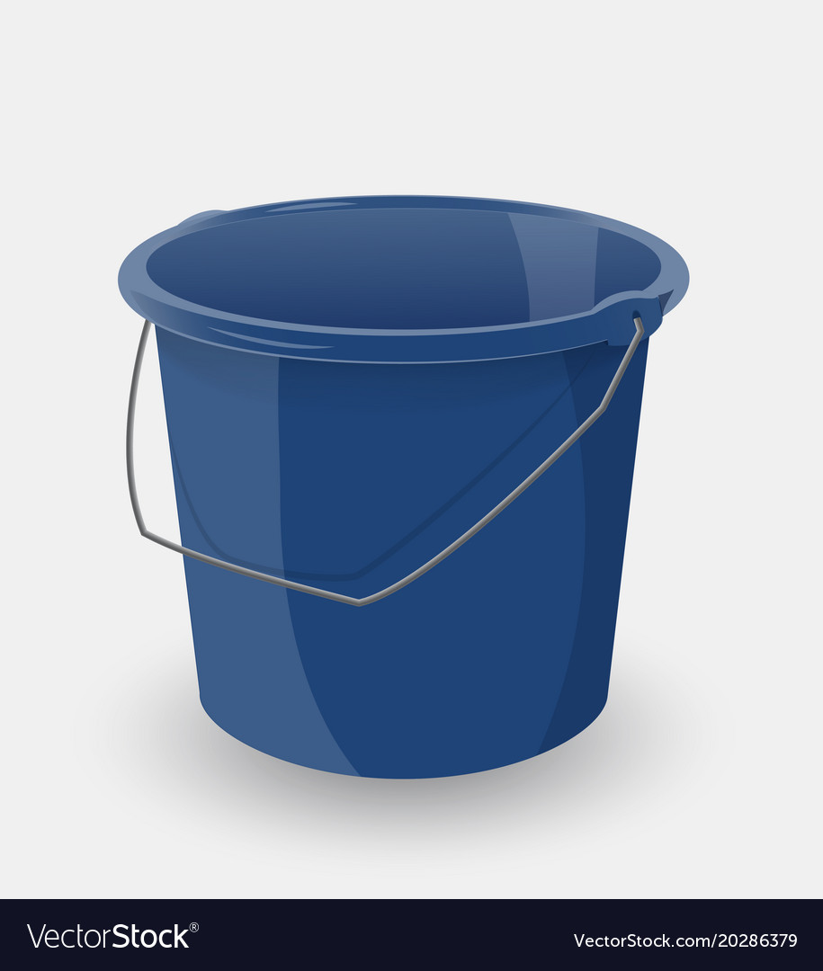 Blue bucket isolated on a white background Vector Image 915x1080