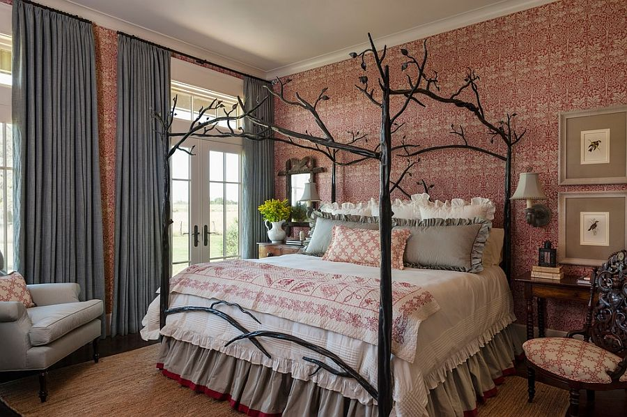 Farmhouse style bedroom with custom bed and striking wallpaper 900x598