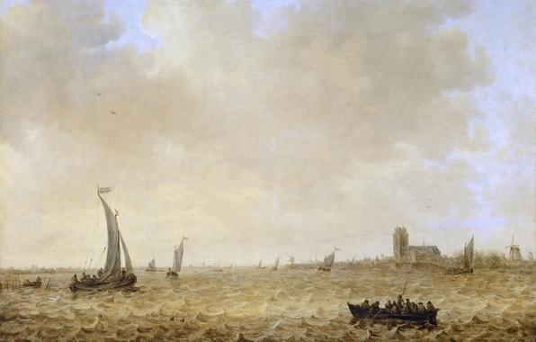 Jan van goyen seascape with view of dordrecht painting landscape 596x380