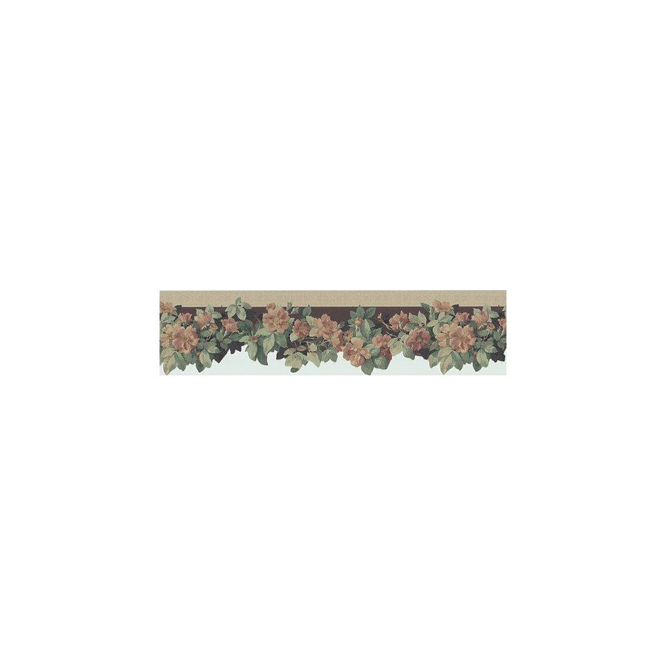 Floral Burgundy Die Cut Wallpaper Border in Border 960x960
