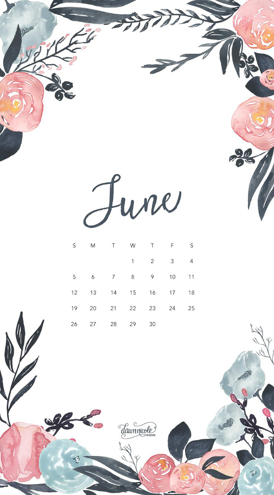Wallpaper with June 2018 Calendar for PC iPad and SmartPhone 900x1621
