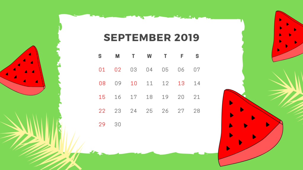 September 2019 Printable Calendar with Editable Notes 1024x576